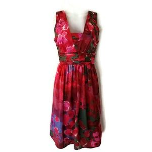 Banana Republic womens red silk floral dress